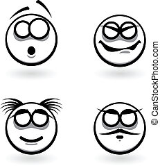 Four cartoon of abstract emotions.