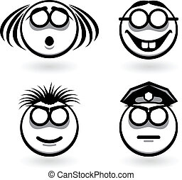 Four cartoon of abstract emotions