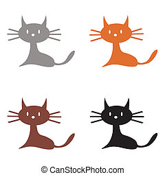 four cats on white background