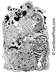 four celestial animals in feng shui. Dragon, phoenix, turtle and tiger. The mythological creatures in the Chinese constellations. Black and white tattoo illustration