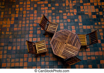 four chairs and a table