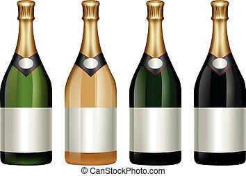 Four champagne bottles with golden lid illustration