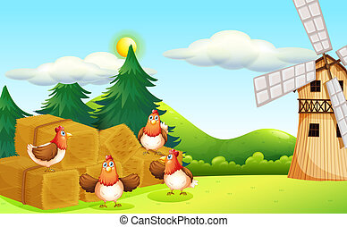 Four chickens at the hay with a windmill