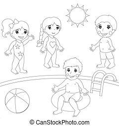 Four Children at the pool