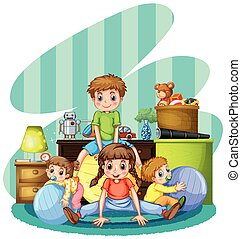 Four children playing in room