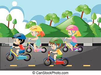 Four children riding bicycle on the road