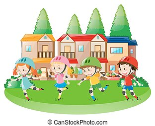 Four children rollerskating in neighborhood illustration