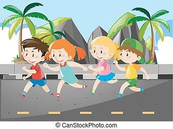 Four children running on the road