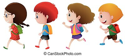 Four children with backpack illustration