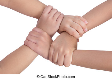 Four child's hands crossed and holding each other