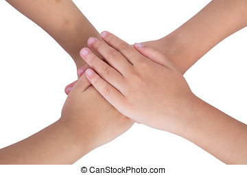 Four child's hands folded on each other