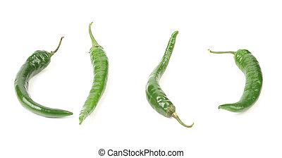 Four chili green pepper