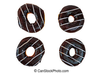 Four chocolate donuts isolated on white background top view.