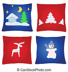 Four christmas pillows