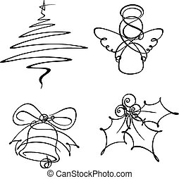 Hand-drowned line art icons. The Christmas tree and angel were developed with a single line the bell with two and the holly berry with three. The EPS v.10 version is organised in layer per icon structure.