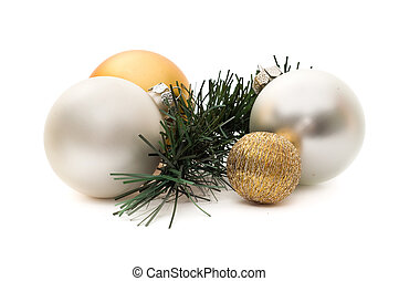 Four christmas spheres and a pine branch