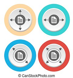 Four circular abstract colored icons and document icon
