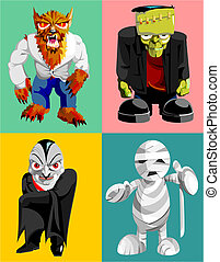 four classic horror characters - werewolf,frankensteins...