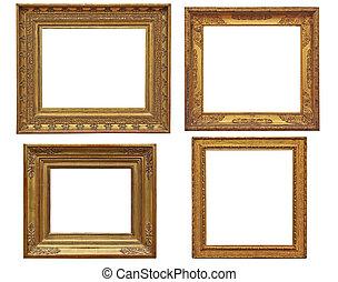 four classical empty golden frames