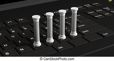 Four classical pillars on a black computer keyboard. 3d illustration