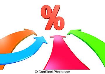 Four color arrows go toward percentage sign, 3D rendering