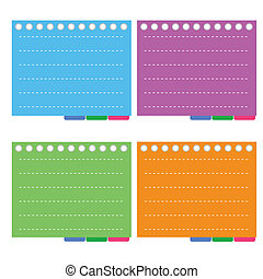 Four Color of Lined Spiral Notepad Papers with Tabs