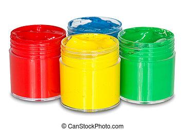 four color paint cans