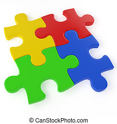 four colored puzzle pieces assemled isolated on white with a clipping path