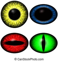 Four color yes set with diferent pupil size. Eye isolated on white
