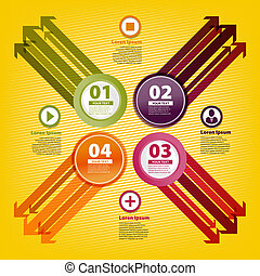 Four colored arrows in infographic