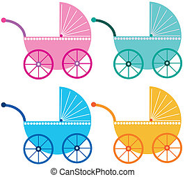 four colored baby buggies