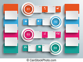 Four Colored Banners Batched Rectangles Big Infographic PiAd