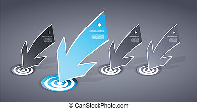 Four colored blue and grey paper arrows on dark background with