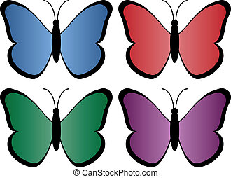 four colored butterflies
