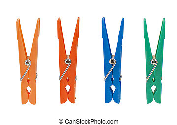 Four colored clothespin isolated on white