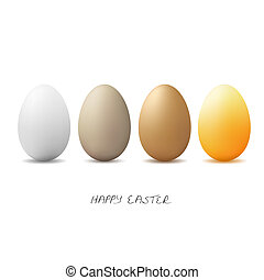 four colored Easter eggs