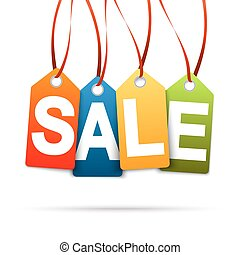 Four colored hangtags with SALE