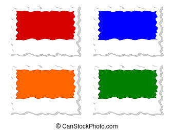 Four colored jagged labels as an illustration