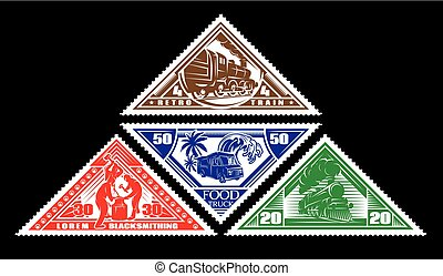 four colored pattern of postage stamp with vintage trains, blacksmiths, food truck