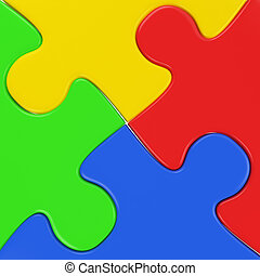 four colored puzzle pieces close up - four colored puzzle...