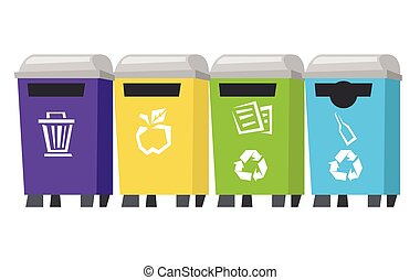 Four colored recycling bins vector illustration.