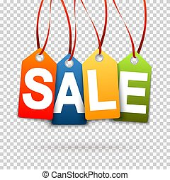 four colored SALE hang tags