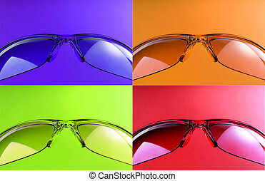 colored sunglasses - Four colored sunglasses