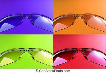 Four colored sunglasses