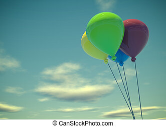 Four colorful balloons on summer sky