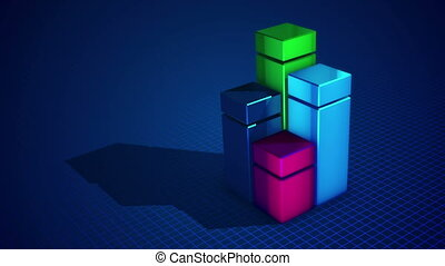 """Four colorful columns in the blue backdrop "" - ""Impressive..."