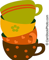 four colorful cups, vector illustration - four colorful tea...