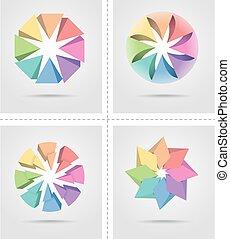 Four colorful design elements