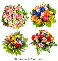 four colorful flowers bouquet on white - four colorful...