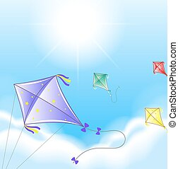 Four colorful kites in the sky